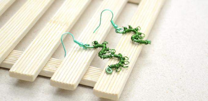 "Wire Wrapping Grassy Lucky Number ""32"" Earrings"