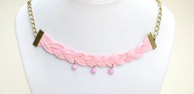 How to Make Braided Bead Necklace - Handmade Suede Cord Braided ...
