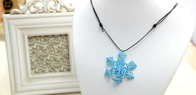 Comment faire un collier avec pendentif flocon de neige en perles pour no l - Comment faire un collier en perle ...