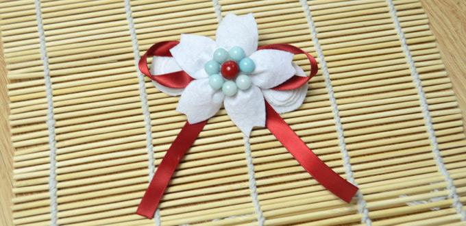 Tutorial on Making a Glamorous White Felt Flower with Beads for Hair