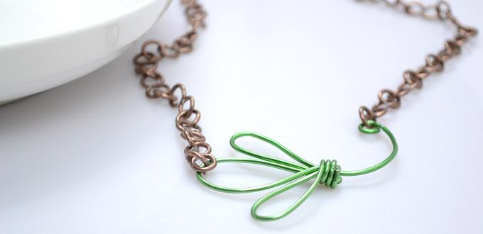 How to Make Creative Wire Necklace - Instructions on Wire Clover Pendant Necklace