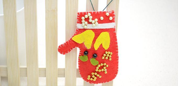 Handmade Felt Glove as Christmas Tree Ornament