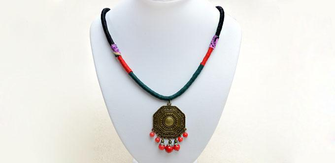How to Make a String Wrapped Tribe Necklace in 4 steps - Free Tutorial