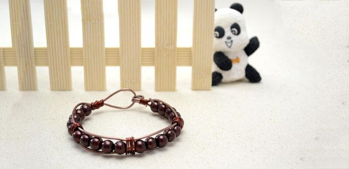 How to Make Bracelets with Brown Beads and Wire in 15 Minutes