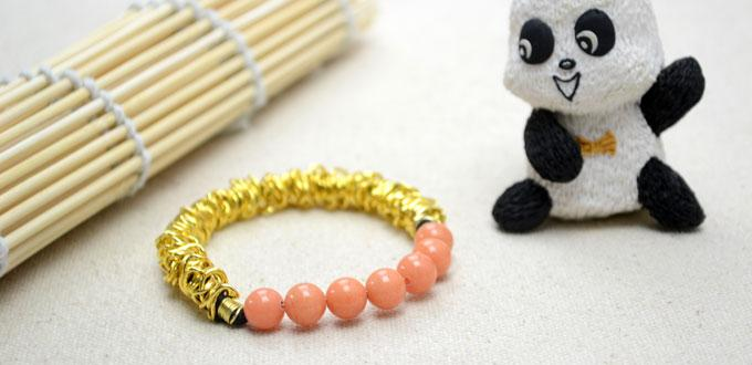 How to Make a Simple Elastic Bracelet Out of Beads and Chain