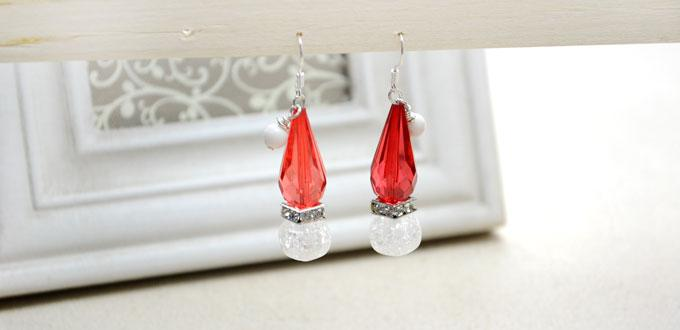 How to Make Dangle Santa Hat Earrings with 3 Beads and 2 Pins