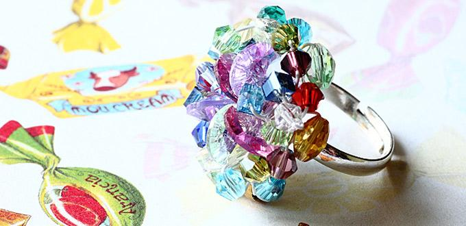 How to Make Sweetylicious Precious Ring – DIY Colorful Beaded Cluster Ring