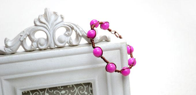 Tutorial on Making a Coiled Wire Bracelet with Violet Red Jade Beads