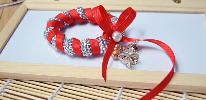 Making Sparkling Christmas Bracelets with Red Ribbon and Silver Beads