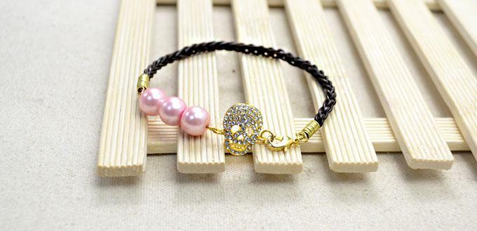 Tutorial on Make a 6-strand Leather Bracelet with Skull Rhinestone Link
