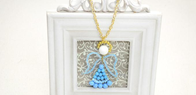 Making a Blue Beaded Angel with Simple Right Angle Weave Stitch
