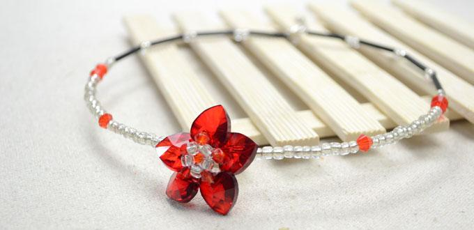 Making a Vogue Memory Wire Choker Necklace with Beaded Flower Pendant