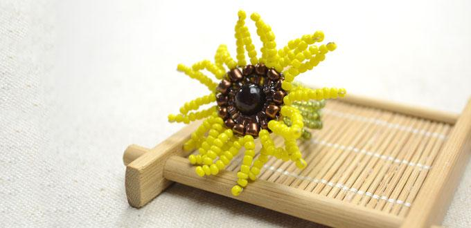 Instructions on Making Memory Wire Ring with a Seed Bead Sunflower ...