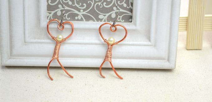"""Tutorial on Wire Wrapping """"Pursuing Love Man"""" Earrings for Beginners"""