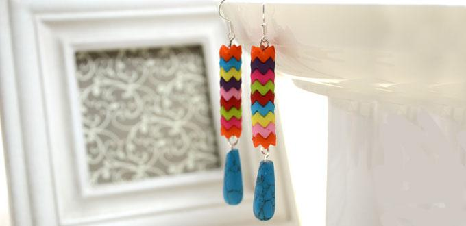 Making Long Dangle Earrings with Rainbow Saw-toothed Beads