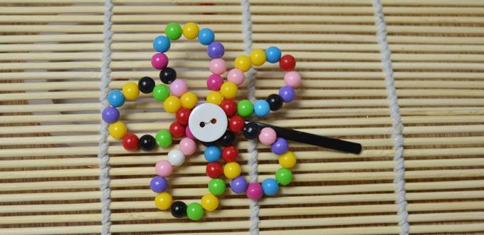 Easy Instructions on Making a Rainbow Beaded Flower Hair Clip