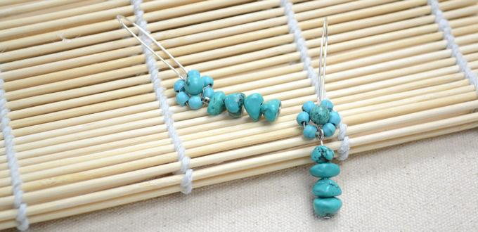Making Dangling Flower Earring Designs with Turquoise Seed Beads and Chip Beads