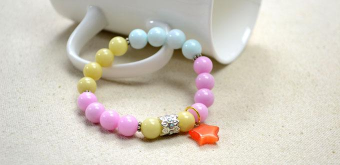 Making an Dreamy Stretch Bracelet with 18 Pastel Jade Beads
