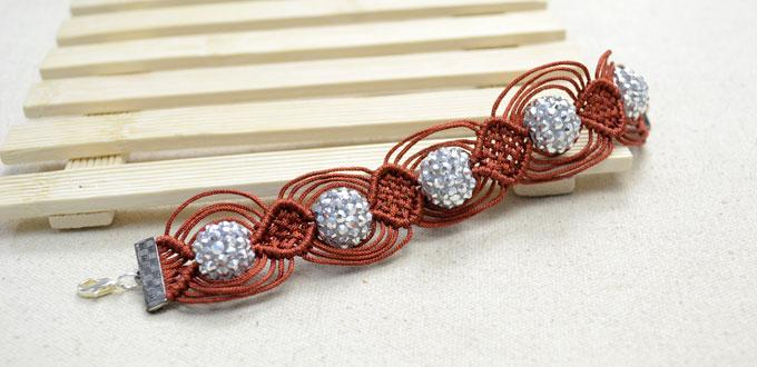 Instructions On Making A 12 String Macrame Bracelet With Resin Rhinestone Beads Pandahall Com