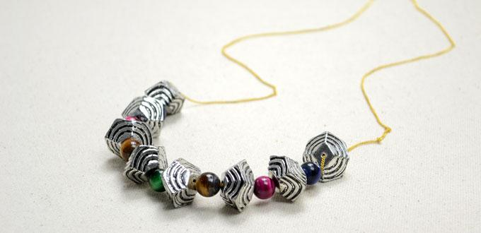 Necklace design: Make Thin Chain Statement Necklace with Ethnic Beads