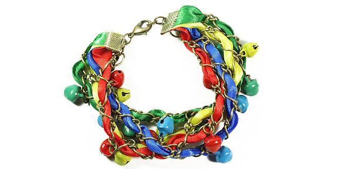 Tutorial on Making Rainbow Ribbon Bracelets with Beads and Chains