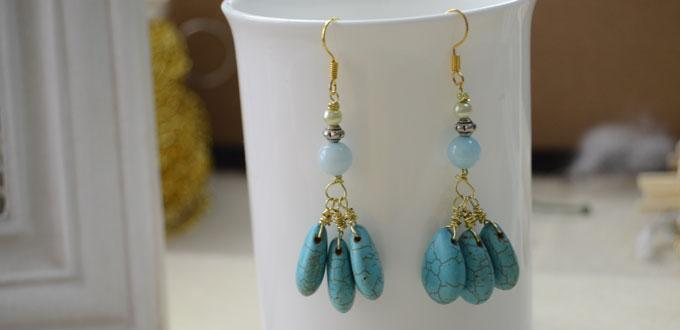 Making Wire Wrapped Turquoise Earrings within 3 Simple Steps