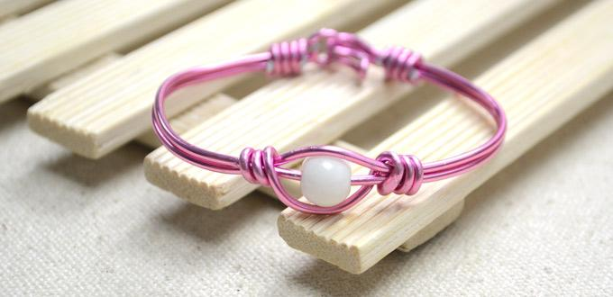 Tutorial on Wire Wrapping Valentine's Pink Bangle Bracelet