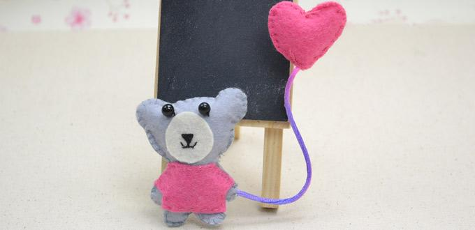 Valentine Day Gift Idea for Her - How to Make a Little Pink Bear Brooch