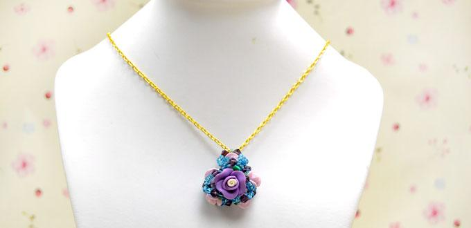 How to Make a Flower Cluster Necklace Pendant by Using Clay Beads and Seed Beads