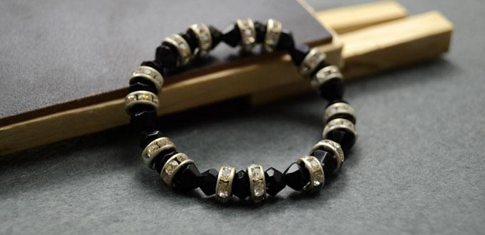 How to Make Easy Stretch Bracelets with Black Crystal Beads and Rhinestone Beads