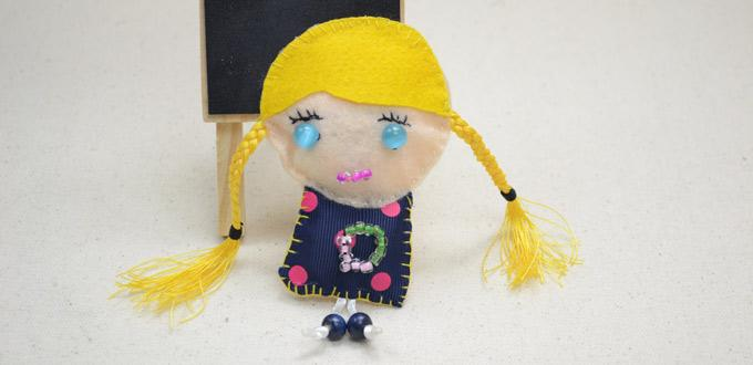 Free Tutorial on Making a Blonde Doll with Seed Beads and Satin Ribbons