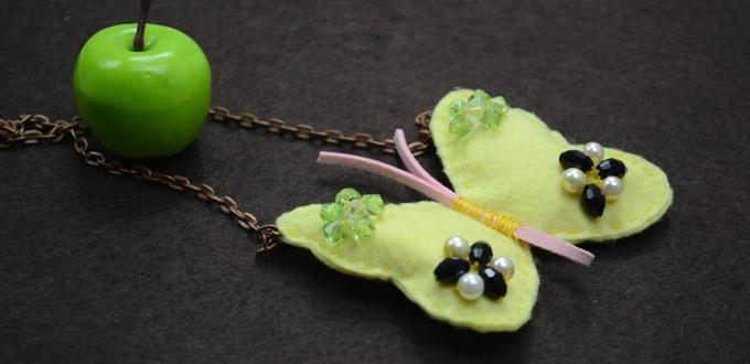 Free Project on Making a Butterfly Necklace with Pearls and Glass Beads