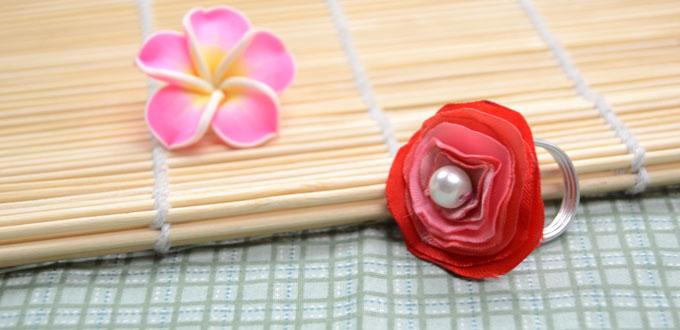 Easy Tutorial on Making a Blooming Flower Ring with Graded Red-colored Satin Ribbons