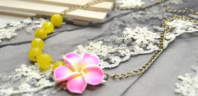 Celebrate Spring by Making Easy Necklace with Handmade Polymer Clay Plumeria Bead