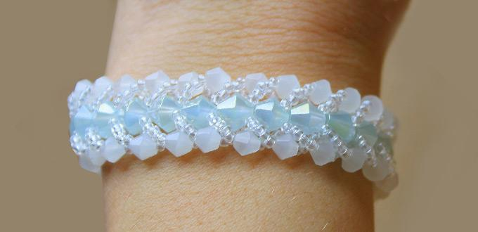 Illustrated Tutorial on Making a Stunning Beaded Bracelet with Glass Bicone Beads and Seed Beads