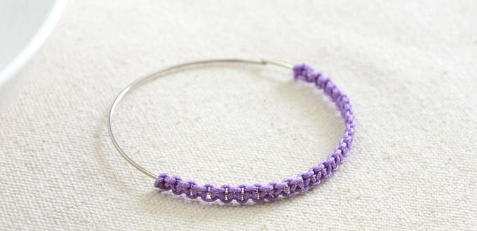 How to Make a Thread Wrapped Bangle Bracelet with Square Knots