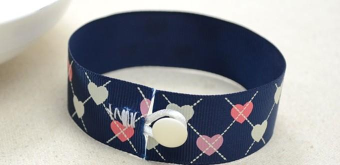 Easy Way to Make DIY Ribbon Bracelet with Button