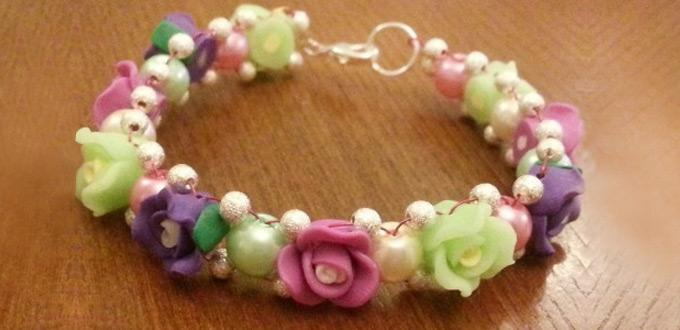 How to Make Vintage Beaded Flower Bracelet with Clay Beads and Glass Pearls
