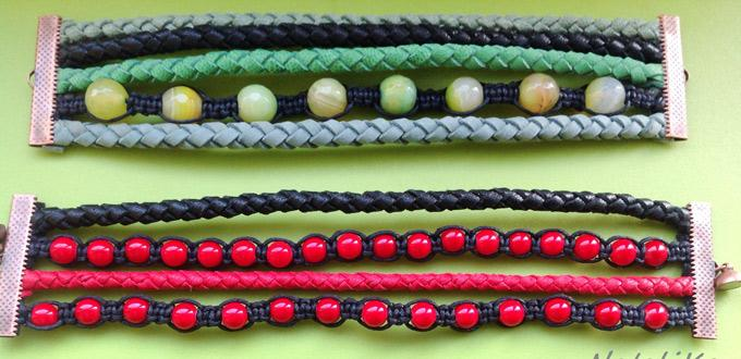 Making a Multi Strand Leather Bracelet in Black and Red Alternate Pattern