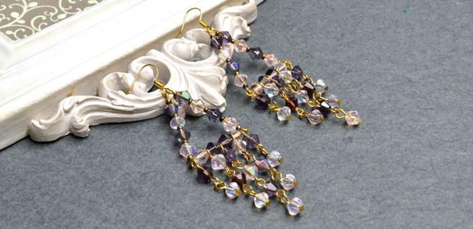 How to Make Long Chandelier Earrings with Brilliant Electroplate Glass Beads