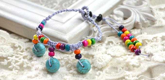 Free Tutorial on Making Bohemian Bracelet with Cord and Beads for Women