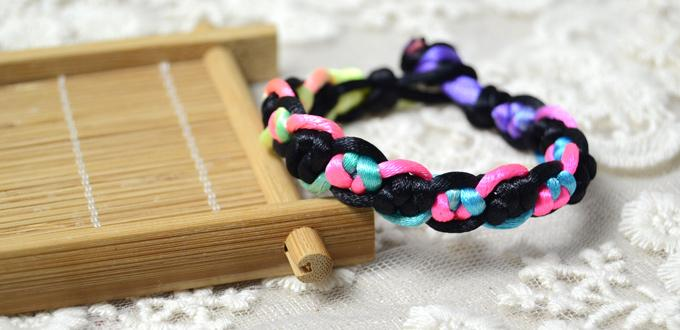 Macrame Bracelet Patterns-Making Chinese Snake Knot Bracelet with Colorful Nylon Thread