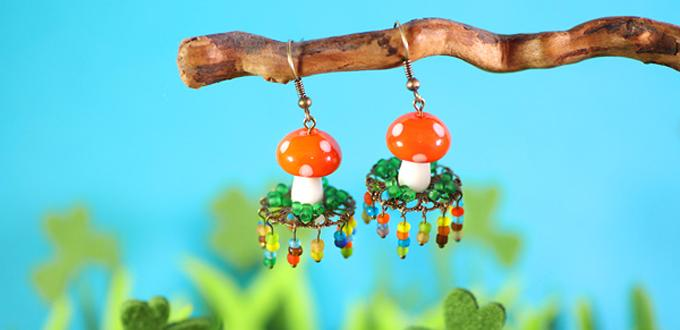 Costume Jewelry Design- Making DIY Fairy Forest Mushroom Earrings with Glass Seed Beads