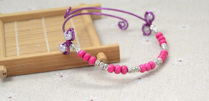 How To Make a Beaded Bangle Bracelet with Violet Pearl and Purple Wire