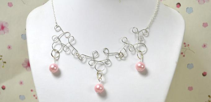 Making a Simple but Elegant Wire Wrapped Necklace with Pearl Beads ...