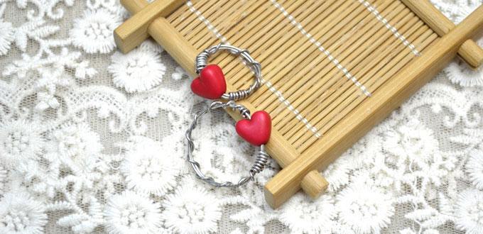 comment faire anneaux couple avec fils et perles de coeur. Black Bedroom Furniture Sets. Home Design Ideas
