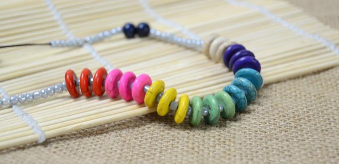 Making a Leather Necklace with Seed Beads and Rainbow Colored Turoqises