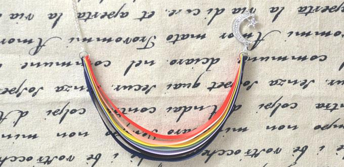 Easy Jewelry Making Ideas- DIY Rainbow Ribbon Necklace with Chains