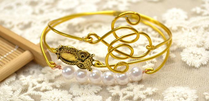 3 in 1 Aluminum Wire Wrapped Bracelet Designs with Pearl Beads