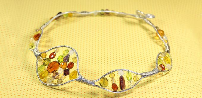 Wire Wrap Jewelry Design - How to Make a Amber Beaded Necklace with Wire